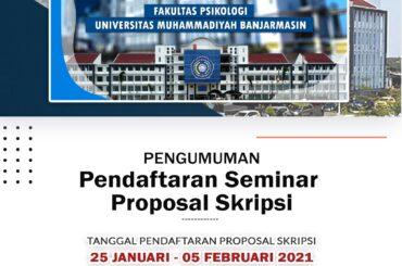 Pendaftaran Seminar Proposal Skripsi Sem. Ganjil T.A. 2020/2021