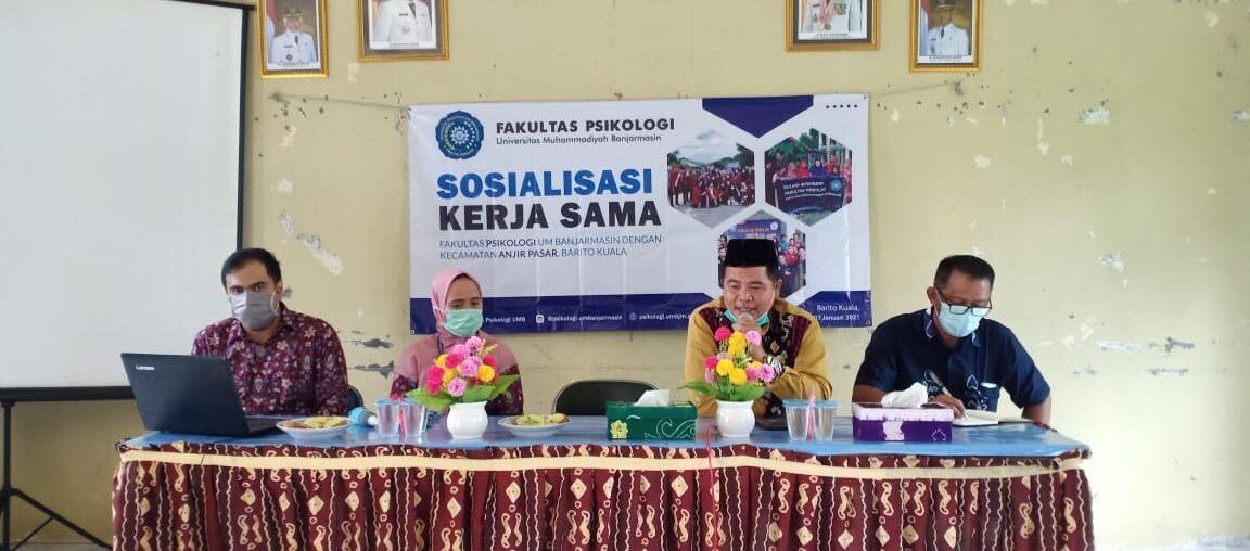 Sosialisasi Kerjasama Kegiatan Tri Dharma Perguruan Tinggi, Fakultas Psikologi dengan Kecamatan Anjir Pasar